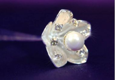 """Set of 6 White Gold Plated, Pearl, Crystal Flower Hair Pins, """"Megan"""""""