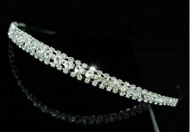 "Silver Plated Clear Crystal Bridal Headband ""Clare"""