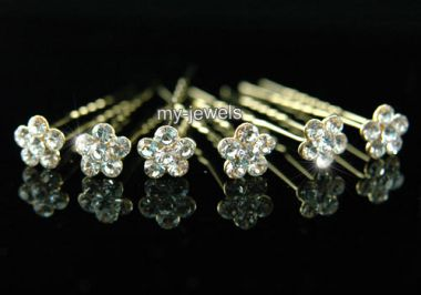 "Gold Plated Bridal Austrian Crystal Flower Hair Pins for Bride, Bridesmaid ""Berenice"""