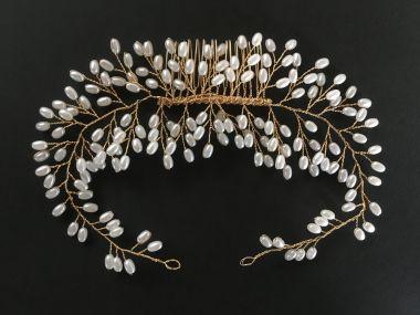 """Bridal Wedding Gold Plated and Pearl Hair Comb """"Samara"""""""