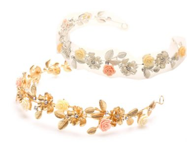 """Gold Colour Bridal, Occasion Flower & Laurel Leaf with Crystals Vintage Style Headband """"Laura"""""""