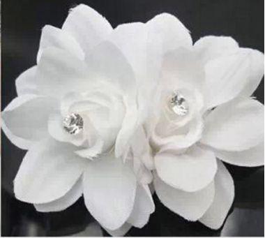 Pretty Twin Hair Flower Clip in White for Bride, Bridesmaid