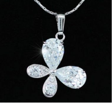 Butterfly Necklace with Pear Cut Swarovski Crystals