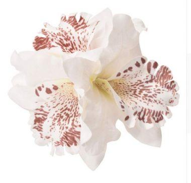 White Orchid Fabric Bridal, Bridesmaid Hair Flower, Clip, Broach