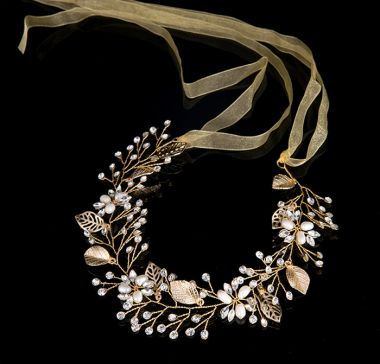 "Bridal Wedding Hair Piece, Gold Colour with Leaves, Crystals & Faux Pearls ""Melanie"""