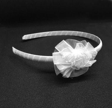 "Pretty Satin Headband with White Ribbon Flower ""Haven"""