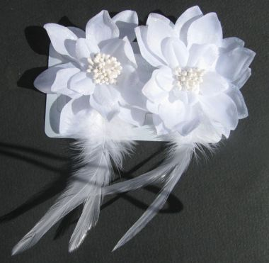 Pair of White Satin Hair Flowers Clips with Glittery Edges & Feathers