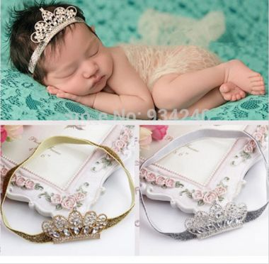 "Crystal Crown Children's Hair Accessory Headband Baby girl's Headwear Princess Baby Newborn Crystal Crown ""Ava"""