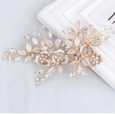"Handmade Rose Gold or Silver Austrian Crystals Rhinestones Flower Leaf Wedding Hair Clip ""Esther"""