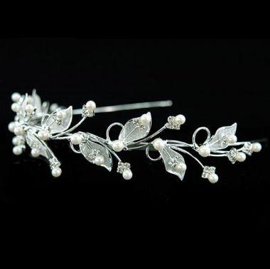 "Silver Plated Bridal Wedding Leaf Leaves Crystal Headband Tiara ""Shemina"""