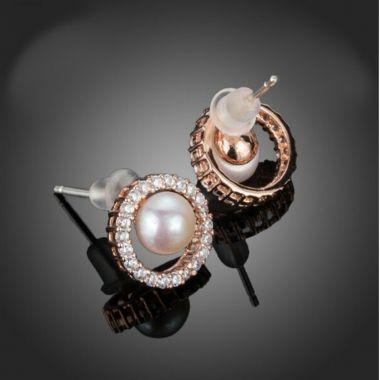 "Rose Gold Pearl and Crystal Bridal Earrings ""Anaya"""