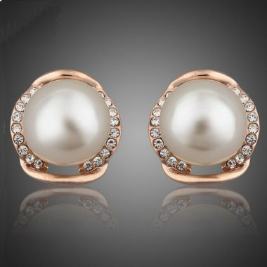 """Rose Gold Pearl and Crystal Bridal Earrings """"Sabre"""""""