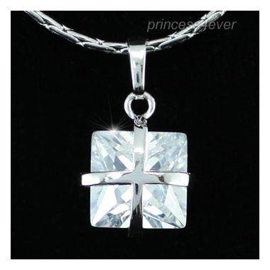 """1.5 Carat Princess Cut Cross Design CZ Simulated Diamond Pendant Necklace """"Leonie"""""""
