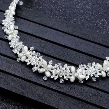 """Bridal Headpiece with Crystals Flowers and Pearls """"Zinnia"""""""