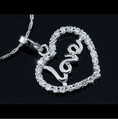 """Silver Plated Love Heart Necklace with Swarovski Crystals """"Linette"""""""