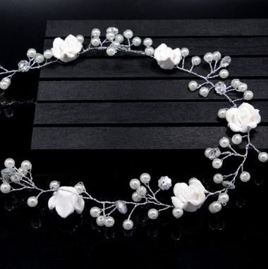 "Handmade White Ceramic Flower Crystal and Pearl Hair Vine ""Helena"""