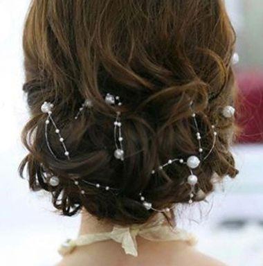 "Long Vine Headpiece with White Pearl Beads  ""Aurora"""