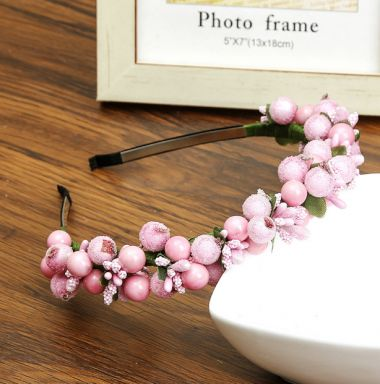 """Headband in Pink for Bridesmaid, Party, with Berry Bead Design """"Berianne"""""""