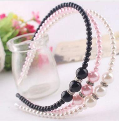 Pretty Beaded Headband in White, Black or Pink