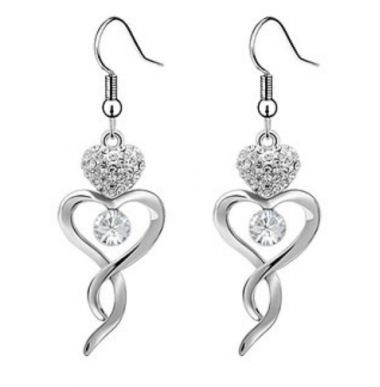 "Heart Dangle Earrings White Gold Plated with Swarovski Crystals ""Abilene"""