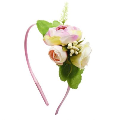 "Pretty Satin Headband in Pink and Ivory with 3 Fabric Flowers ""Irina"""