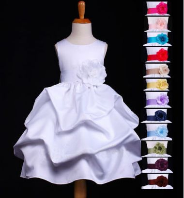 Gorgeous Satin WHITE pink red  turquoise ;lilac lemon yellow navy blue plum wine burgundy oliver green brown black Wedding, Bridesmaid, Flower Girl, Dress