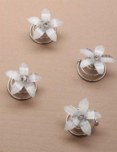 """4 White Glitter Crystal Flower Hair Coils """"Rose"""""""