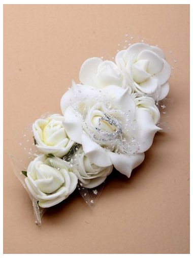 Satin White & Ivory Fabric Hair Clip for Bridesmaid, Party, Occasion in White