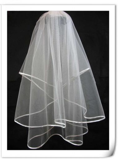 2 tier waist length bridal veil with Satin Edges