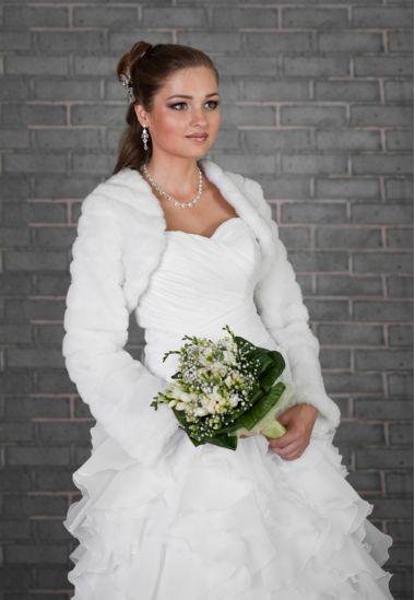 Faux Fur Long Sleeve, Bridal Jacket, Bolero, Ivory or White