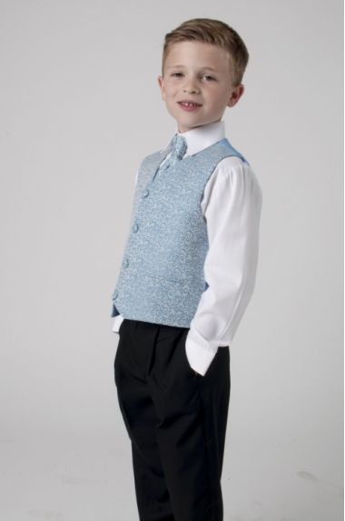 """Boys 4 Piece Suit in Navy Blue and Silver Swirl """"Rocco"""""""